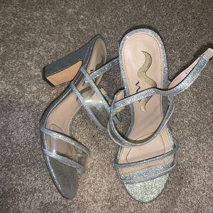 Nina silver glitter heels